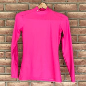 Under Armour size M mock neck pink top